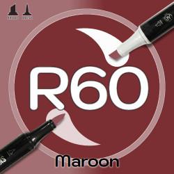 Маркер Sketchmarker BRUSH R60 Maroon (Темно-бордовый) Два пера: кисть и долото. На спиртовой основе
