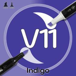 Маркер Sketchmarker BRUSH V11 Indigo (Индиго) Два пера: кисть и долото. На спиртовой основе