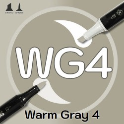 Маркер Sketchmarker BRUSH WG4 Warm Gray 4 (Теплый серый 4) Два пера: кисть и долото. На спиртовой основе