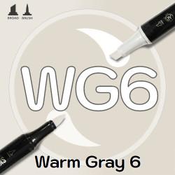 Маркер Sketchmarker BRUSH WG6 Warm Gray 6 (Теплый серый 6) Два пера: кисть и долото. На спиртовой основе