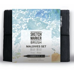 Набор маркеров Sketchmarker BRUSH Maldives set - Мальдивы (36 маркеров + сумка органайзер)