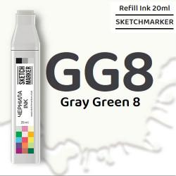 Чернила SKETCHMARKER GG8 Gray Green 8 (Серо-зелёный 8), для маркеров, 20 мл