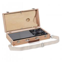 Ящик художника с алюминиевым органайзером,складной палитрой и плечевым ремнем, бук, SB-22