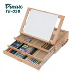 Мольберт настольный TE-03B Pinax с органайзером на 3 лотка и складным планшетом, бук, для формата A4 до 21см