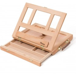 Мольберт настольный TE-01B с ящиком для кистей и красок, малый, бук