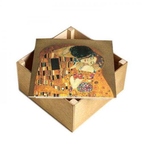 Коробка деревянная подарочная «Поцелуй», 20x20x10 см